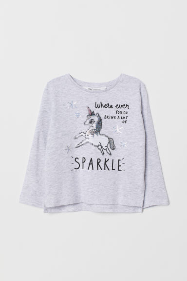 Appliquéd top - Grey marl/Unicorn - Kids | H&M CN
