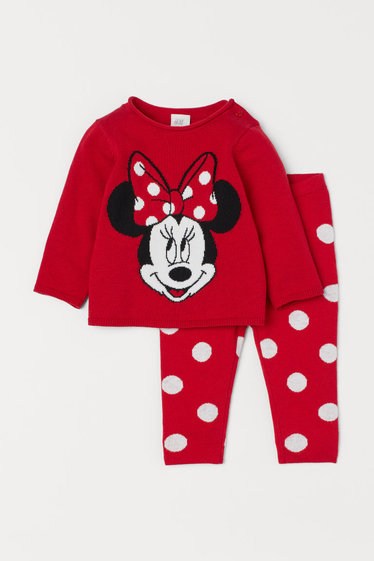 Fine-knit Sweater and Pants - Red/Minnie Mouse -  | H&M US