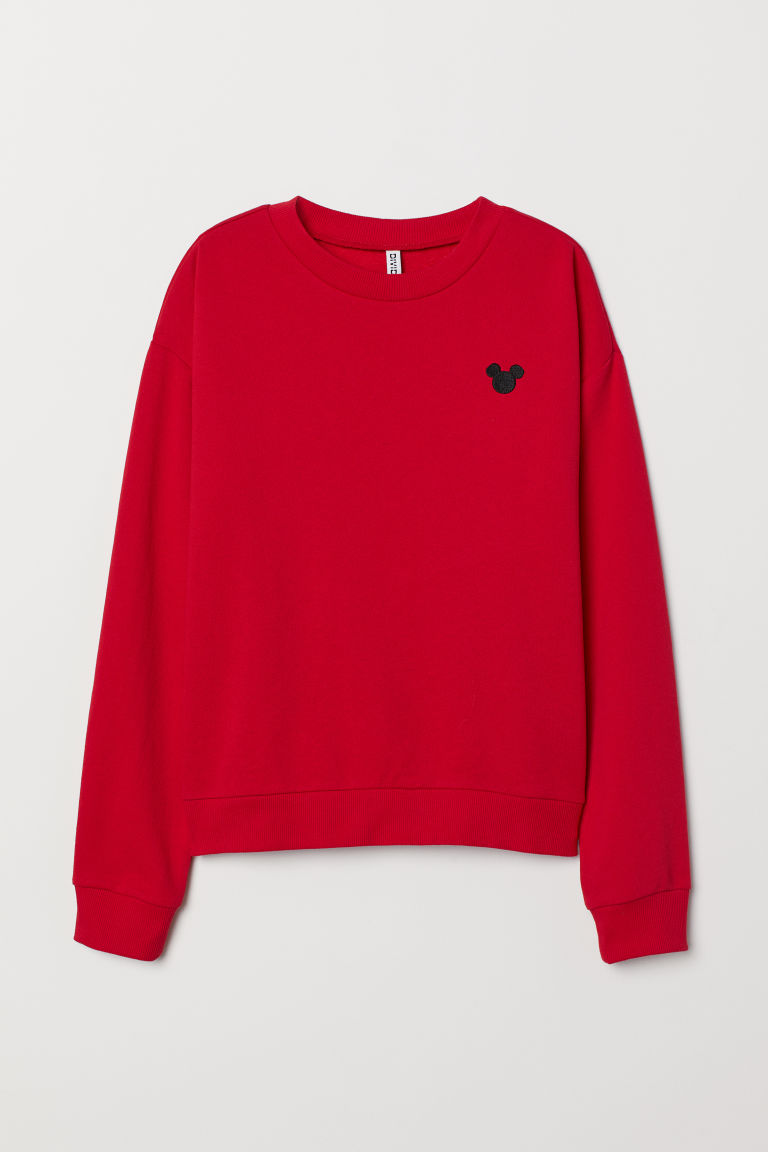 Sweatshirt with embroidery - Red/Mickey Mouse -  | H&M GB