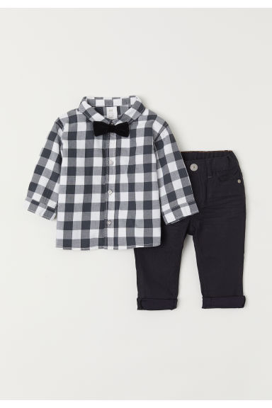 Shirt and trousers - Dark grey/Checked - Kids | H&M