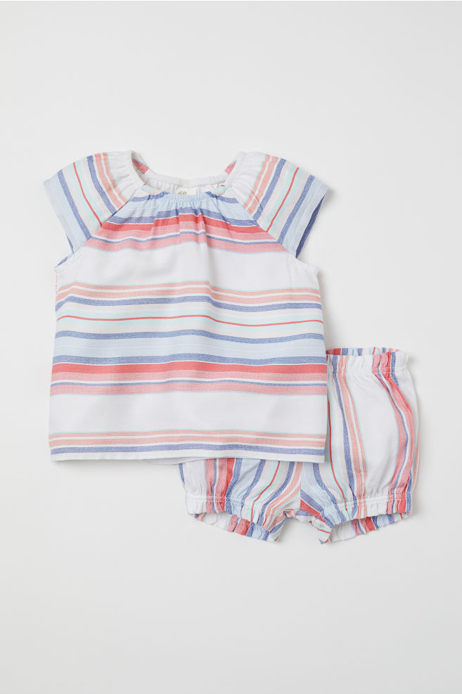 49eaa564a Top and Puff Pants - Coral/blue striped - Kids | H&M ...