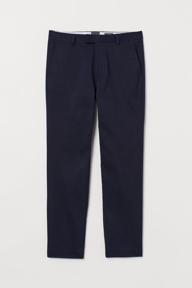 Cotton chinos Slim Fit - Dark blue - Men | H&M