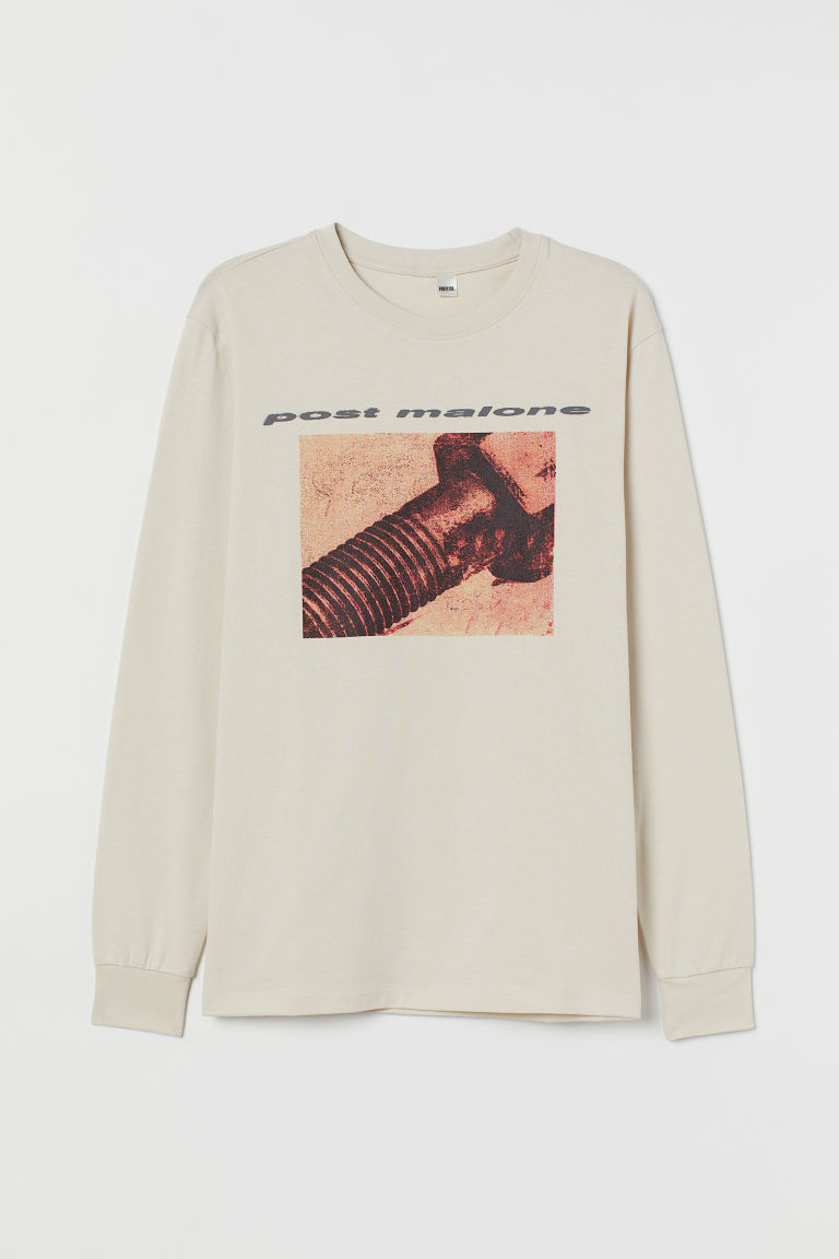 Printed Jersey Shirt - Light beige/Post Malone - Men | H&M CA