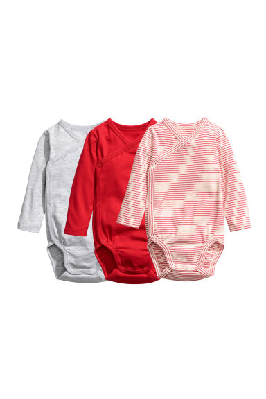 3-pack wrapover bodysuits - Red - Kids | H&M CN