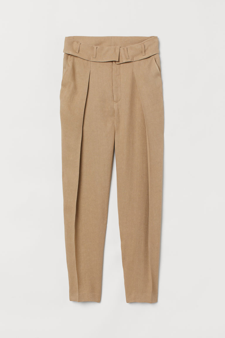 Pantaloni in misto lino - Beige kaki - DONNA | H&M IT
