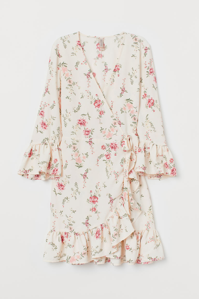 Patterned wrap dress - Cream/Floral -  | H&M