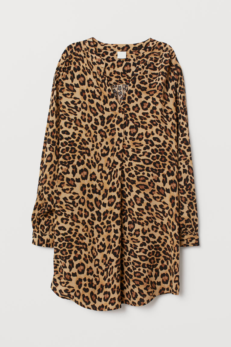 V-neck dress - Beige/Leopard print - Ladies | H&M CN