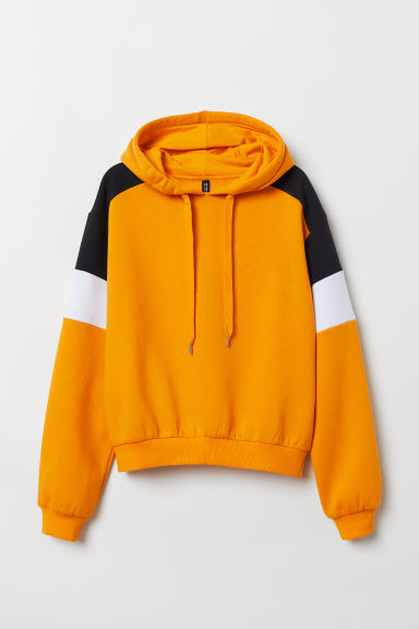 Printed hooded top - Dark yellow/Block-coloured -  | H&M