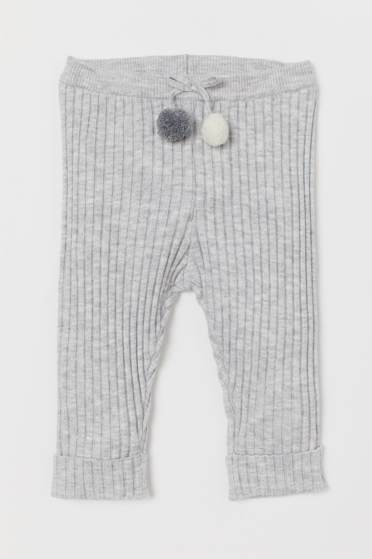 Ribbed Leggings - Light gray melange - Kids | H&M CA