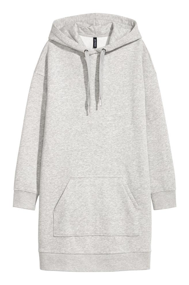Hooded Sweatshirt Dress Light Grey Marl Ladies Hm Us