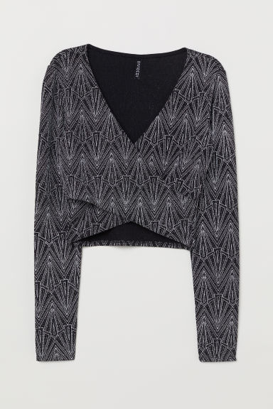 Cropped wrapover top - Black/Silver-coloured -  | H&M