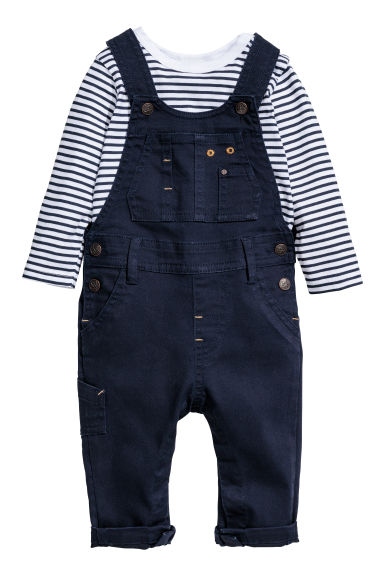 Top and dungarees - Dark blue -  | H&M CN