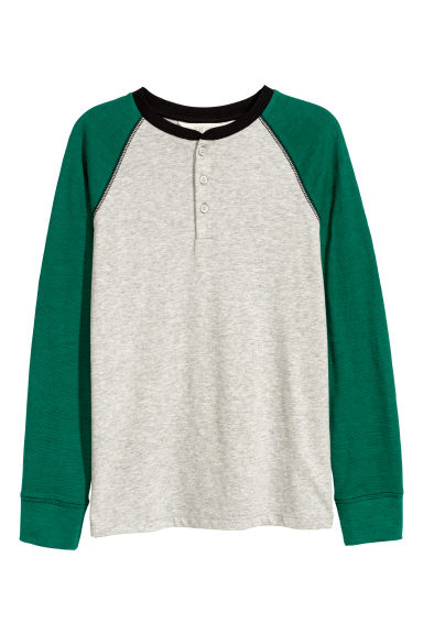 Henley top - Light grey marl/Green - Kids | H&M