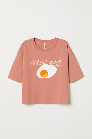 T-shirt with a motif - Old rose/Fried Egg -  | H&M CN