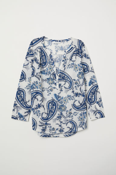 V-neck top - White/Paisley-patterned - Ladies | H&M