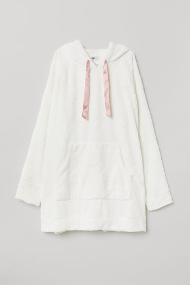 H&M+ Hooded fleece top - White/Hearts - Ladies | H&M