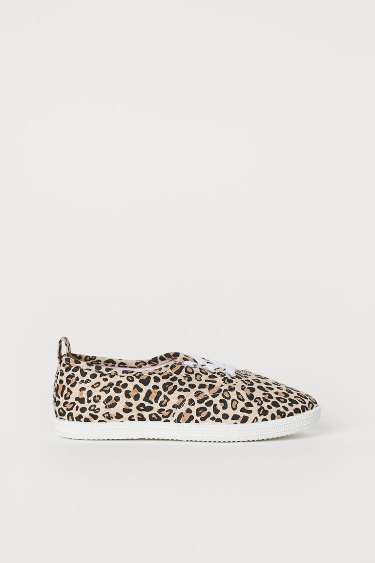 Cotton trainers - Beige/Leopard print - Kids | H&M CN
