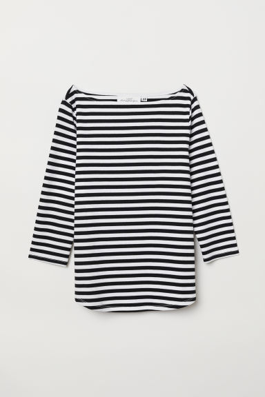 Boat-neck top - Black/White striped - Ladies | H&M