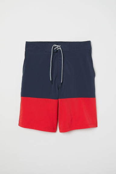 Knee-length Swim Shorts - Dark blue/red -  | H&M CA
