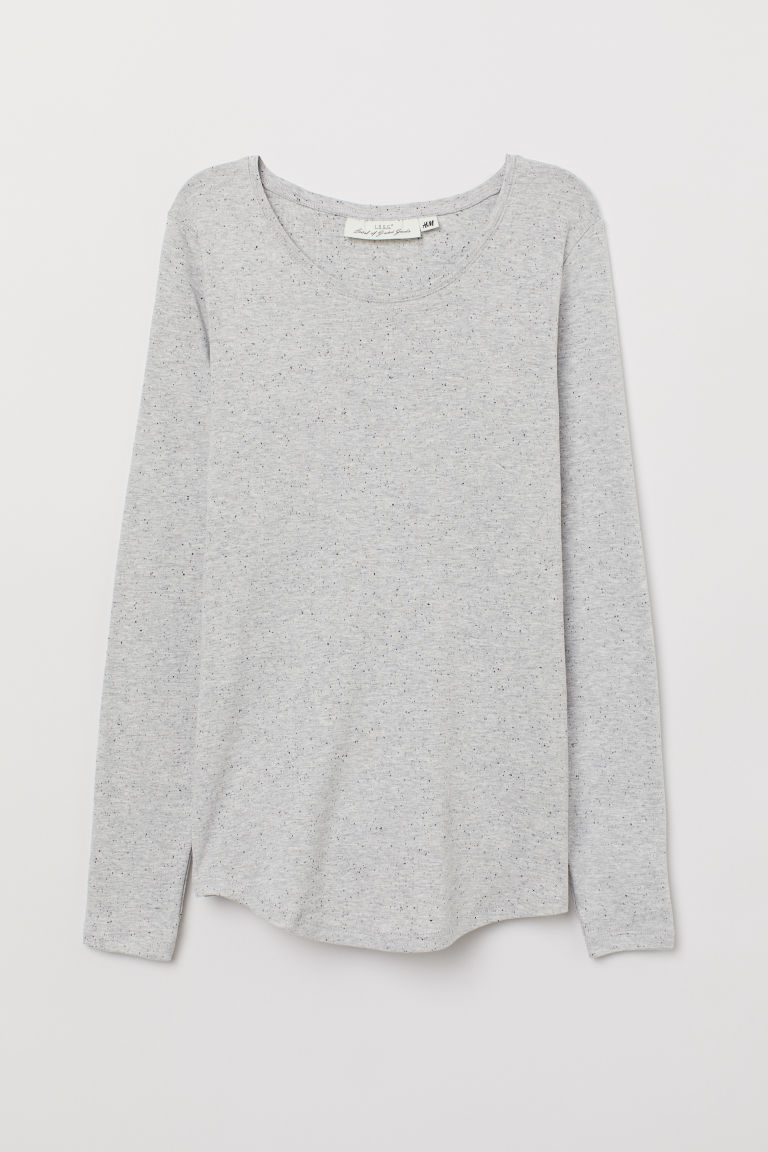 Long-sleeved jersey top - Light grey/Nepped - Ladies | H&M