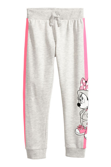 Patterned joggers - Light grey/Minnie Mouse -  | H&M