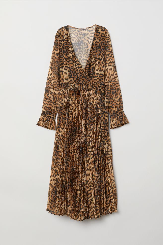 4ea77ff9b77 Robe plissée - Marron motif léopard - FEMME