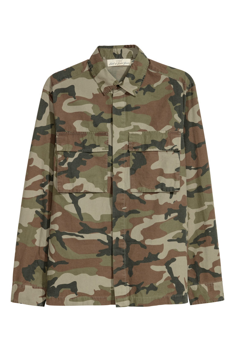 Patterned shirt jacket - Khaki green/Patterned - Men | H&M