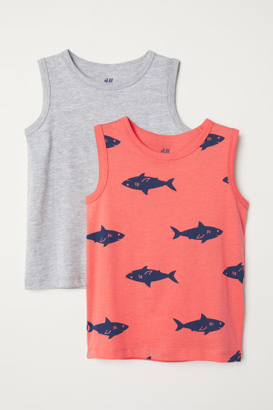 2-pack tops - Orange/Sharks - Kids | H&M