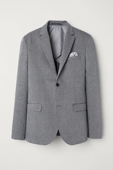 Linen-blend jacket Slim fit - Grey marl - Men | H&M