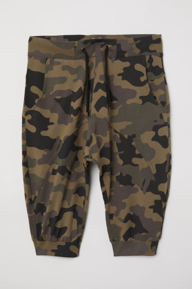 Sweatshirt shorts - Dark khaki green/Patterned - Men | H&M CN