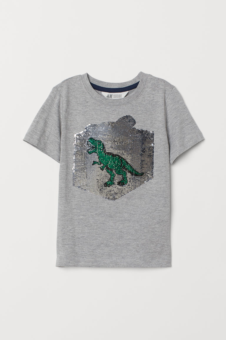 T-shirt with a motif - Grey marl/Christmas present - Kids | H&M CN