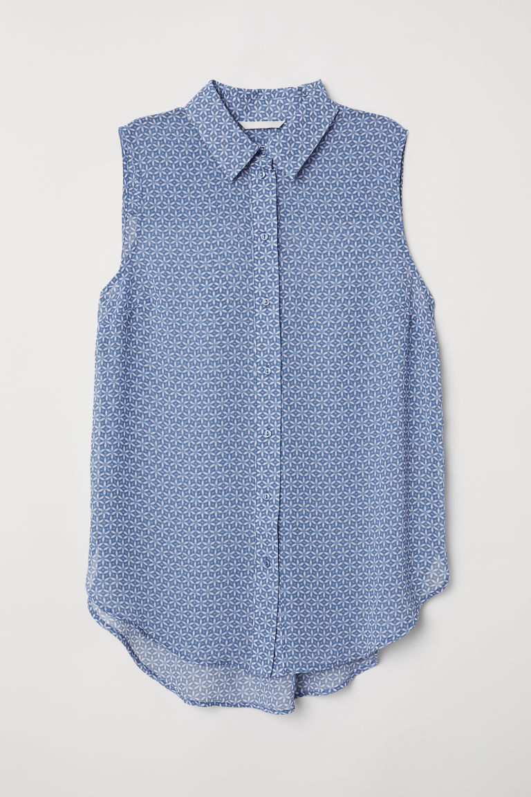 Sleeveless blouse - Blue/Patterned - Ladies | H&M CN
