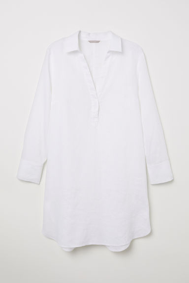 H&M+ Linen tunic - White - Ladies | H&M