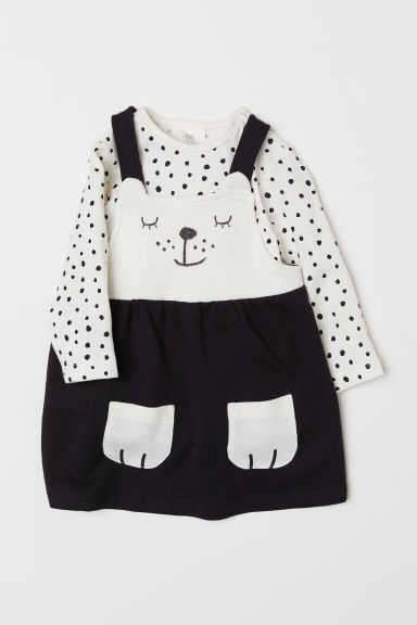 Dungaree dress and top - Black/Spotted - Kids | H&M CN