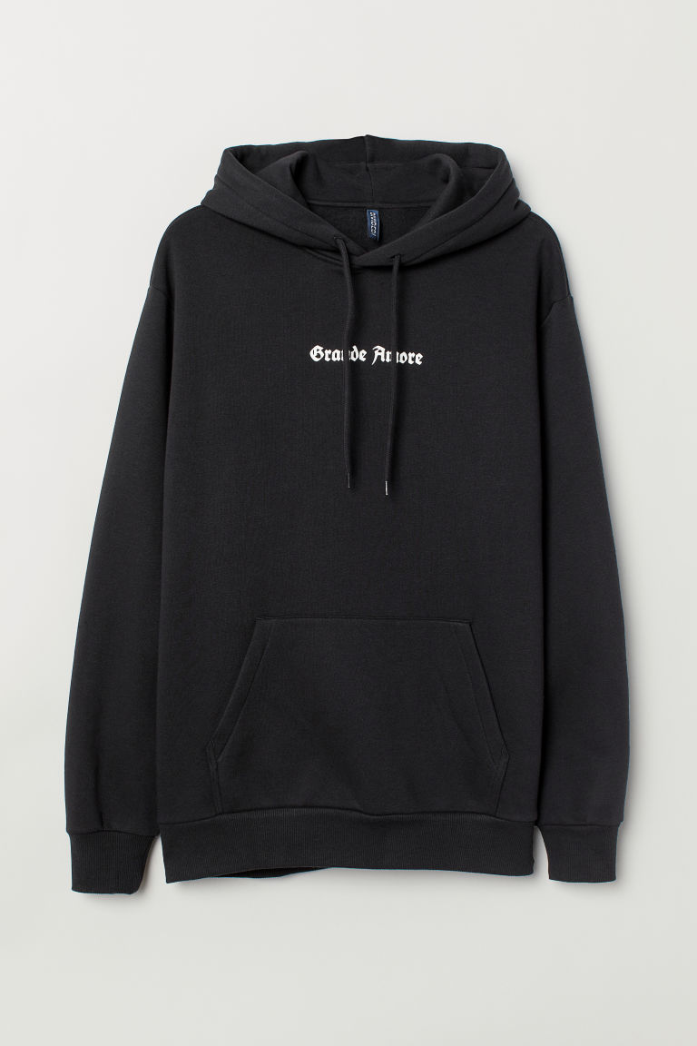 Hooded top - Black/Grande Amore - Men | H&M IE