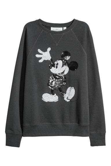 Sweatshirt with sequins - Dark grey/Mickey Mouse - Ladies | H&M
