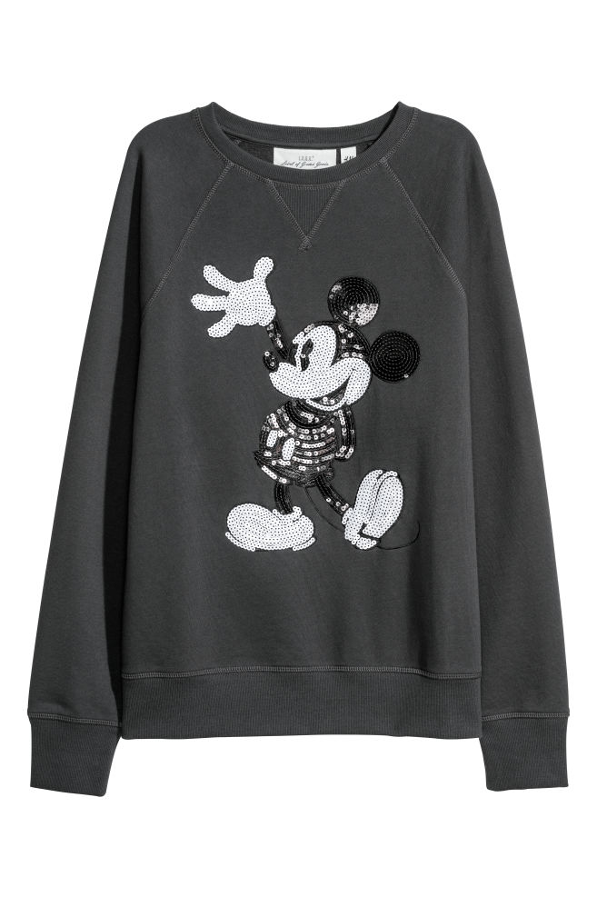 e0bee22b6233 Sweatshirt with Sequins - Dark gray Mickey Mouse - Ladies