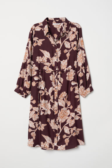 MAMA Hemdjurk - Bordeauxrood/bloemen - DAMES | H&M BE