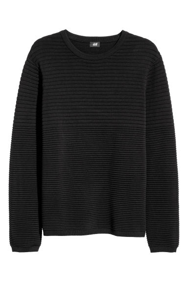 Textured-knit jumper - Black -  | H&M