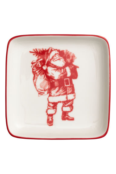 Small porcelain plate - White/Santa - Home All | H&M IE