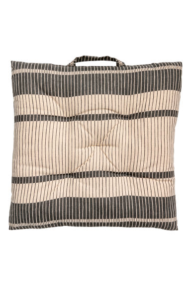Patterned seat cushion - Anthracite grey/Natural white - Home All | H&M CN