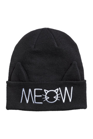 Knitted hat - Black/Meow -  | H&M IE