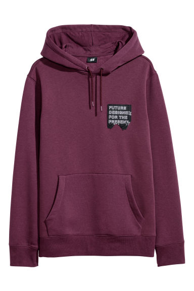 Hooded top with a motif - Burgundy -  | H&M
