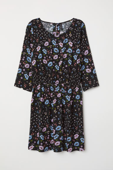 Short dress - Black/Blue floral - Ladies | H&M CN