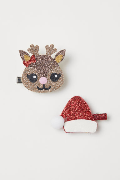 2-pack glittery hair clips - Red/Glittery - Kids | H&M