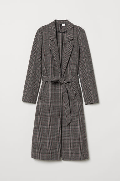 Coat with a tie belt - Dark grey/Checked -  | H&M