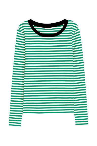 Striped jersey top - White/Green striped -  | H&M IE