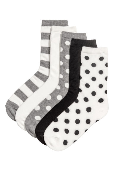 5-pack socks - Black/Patterned - Ladies | H&M GB