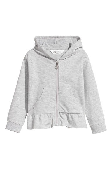 Hooded jacket with a flounce - Light grey - Kids | H&M CN