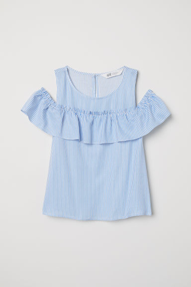 Cold shoulder top - Light blue/Striped - Kids | H&M CN